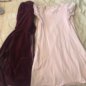 Uniqlo velour hoodie and cotton dress